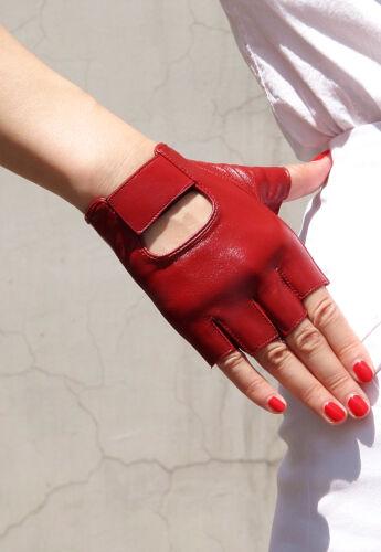 Cuir véritable Mitaines Court Gants Noir Rouge clous cuir d/'agneau demi-doigt sport