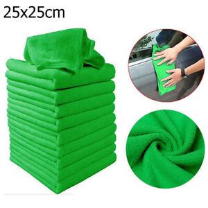 10Pcs-Verde-Microfibra-Sueve-Toalla-Panos-De-Limpieza-Coche-Plumero