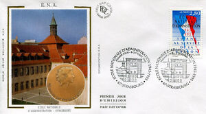 FRANCE-FDC-2971-2-ECOLE-DADMINISTRATION-STRASBOURG-5-Oct-1995-LUXE-soie