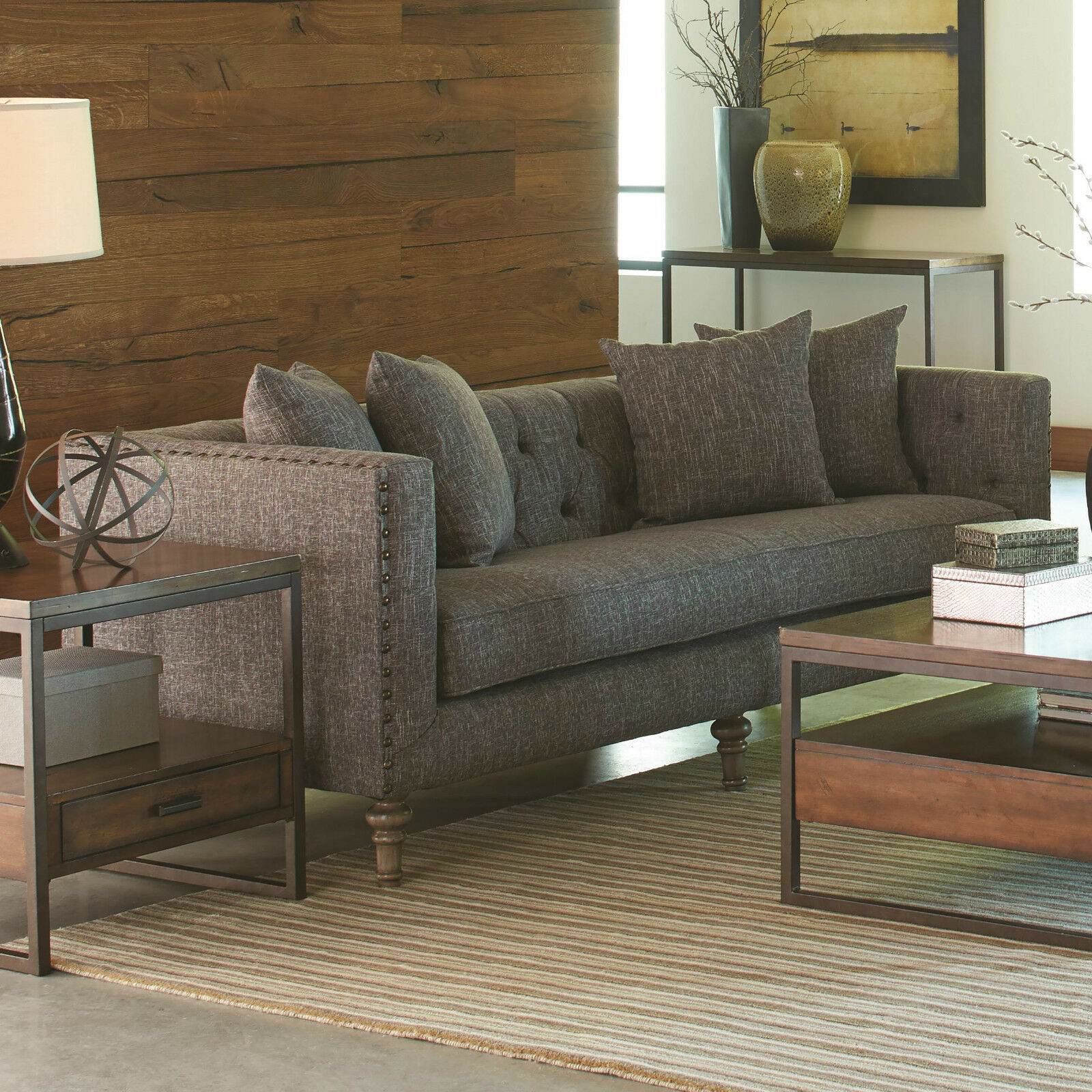 Traditional Tweed Fabric 3Pc Gray Sofa Set Sofa Loveseat Chair Living Room  Couch