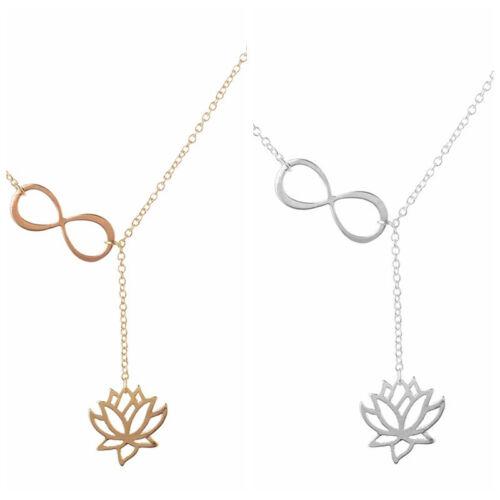 Femmes Délicat Argent Chaîne Collier numéro 8 Lotus Lariat Pendentif Filles Bijoux