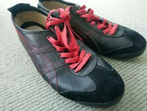 Vintage-Asics-Onitsuka-Tiger-Sneakers-Casual-Shoe-Leather-Black-Red-US-11-EU-45