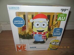"""INFLATABLE """"DAVE"""" MINIONS CHRISTMAS SCENE """"7 FEET TALL"""" NEW - $84.99 Sale!"""