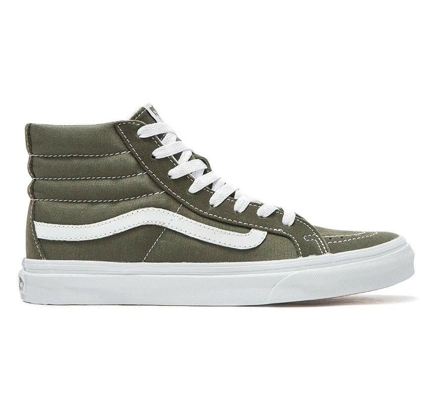 VANS Sk8 Hi Slim (Suede Canvas) Grape Leaf/True White Skate Shoes WOMEN'S 9.5