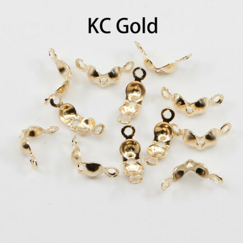 200pcs Connector Clasps 4*7mm Ball Chain Calottes End Crimps for DIY Making