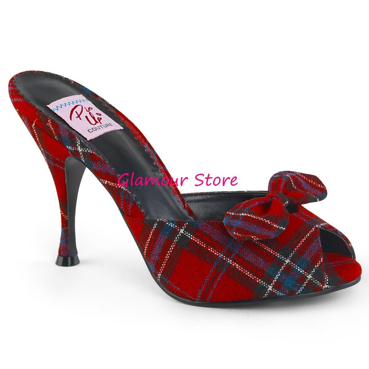 Sexy SANDALI sabot tacco 11 dal 35 al 41 LEOPARD, black, red SCOZZESE shoes