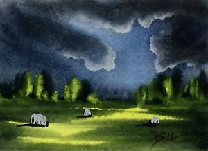 ACEO-ATC-original-art-miniature-painting-Cloudy-Afternoon-by-Bill-Lupton