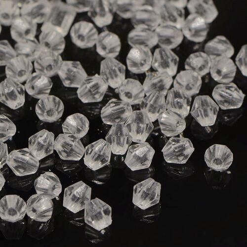 100 Stück Klare Bicone Acrylperlen 4mm x 4mm Loch 1mm Geschliffene Rhomben