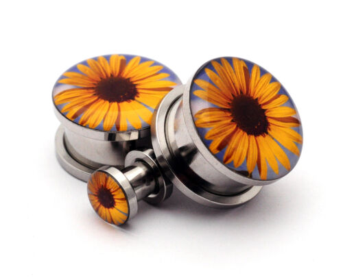 Pair of Screw on Sunflower Picture Plugs gauges 16g thru 1 inch
