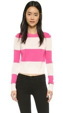 360 CASHMERE KANAN NEON PINK STRIPED SWEATER SMALL