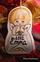 Baby Memory Angel Personalised Wooden Decoration- Handpainted