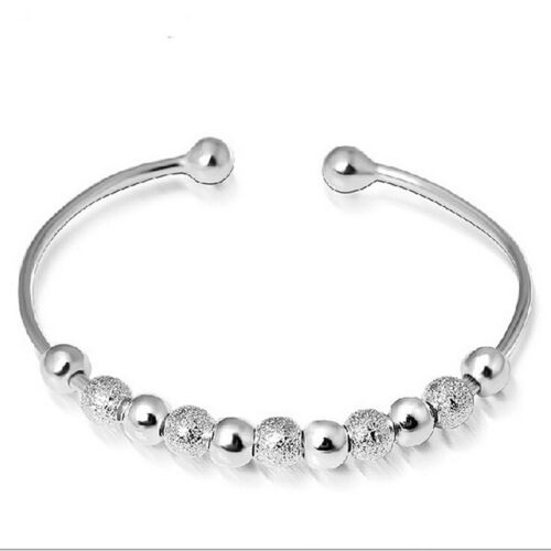 Women Chic Silver Plated Beads Ball Bangle Cuff Vogue Bracelet Jewelry  NB