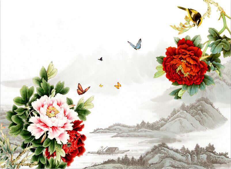 3D Flower colorful hill Ink Wallpaper Decal Dercor Home Kid Nursery Mural  Home