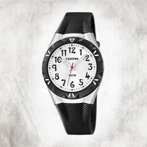 Calypso-Plastico-Puro-Reloj-de-Mujer-K6064-2-Pulsera-Negro-Analogico-UK6064-2