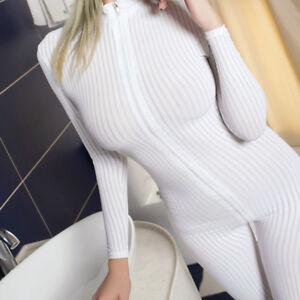 Image is loading Sexy-Women-Open-Crotch-Striped-Sheer-Bodysuit-Jumpsuit- c981274bd