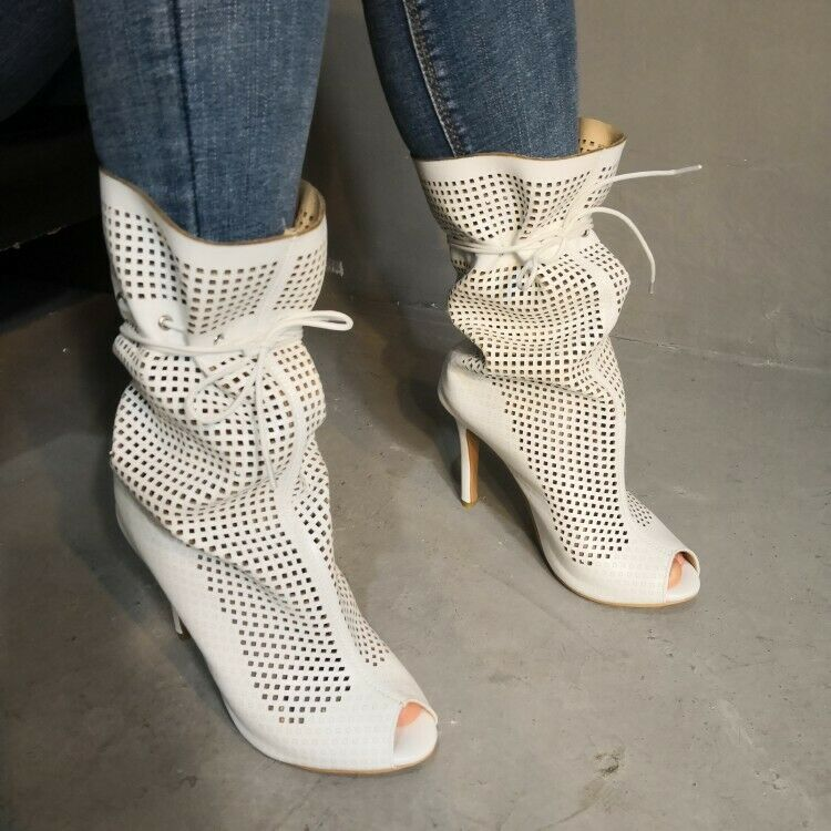 Women's Hollow Out Mid-Calf Boots High Heels Peep Toe Stilettos Casual shoes