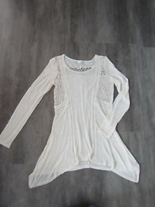 2007c5debfddee Women s Maurices Ivory Cream Boho Top Tunic w Crocheted Lace Inserts ...