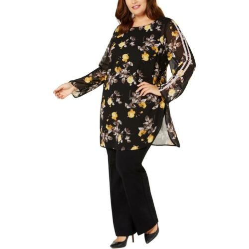 Alfani Womens Printed Crew Neck Long Sleeves Tunic Top Blouse BHFO 6182