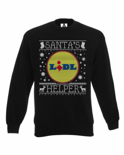 Santa/'s Lidl Helper Christmas Jumper Sweatshirt Funny Xmas Joke Gift Mens Womens