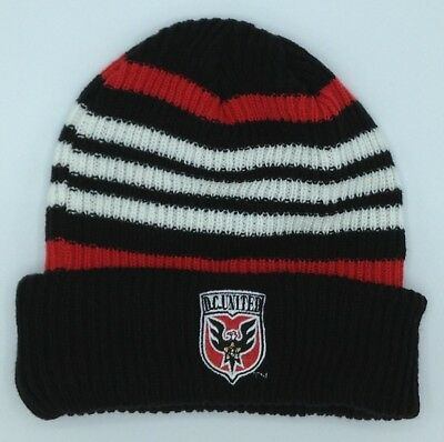 Delicious Mls Dc United Adidas Cuffed Winter Knit Hat Cap Beanie Style #kr75z New 100% Original Memorabilia
