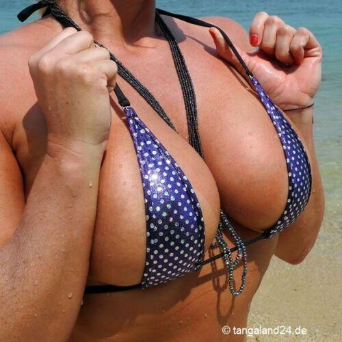 Handmade in Germany Tangaland Micro String Bikini Metallic Silverdot Lila