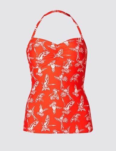 M/&S Tankini Top Orange Parrot Print Strapless Halterneck Padded Tummy Control