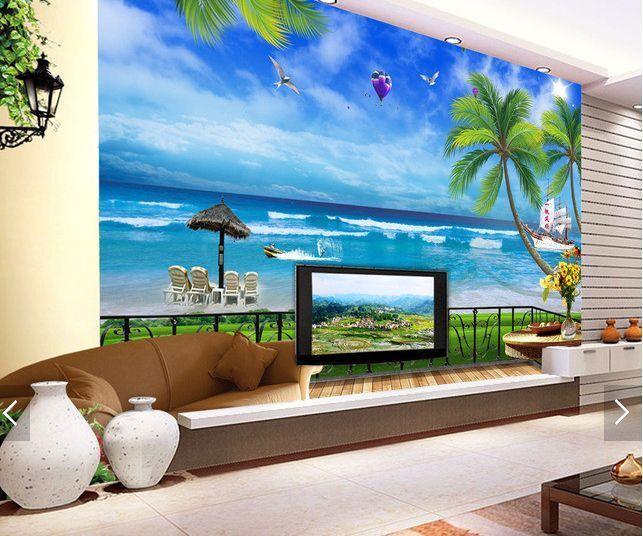 3D spiaggia blu Parete Murale Foto Carta da parati immagine sfondo muro stampa