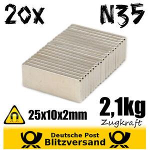 20x-Magnet-Quader-25x10x2mm-2kg-Zugkraft-Experimentiermagnet-Hochleistungsmagnet