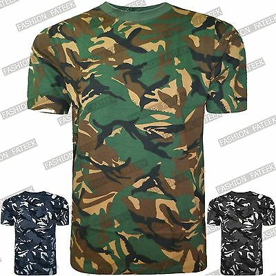 Mens Crew Neck Military Camo Combat Short Sleeve Tee Shirts T-Shirts Tops Blouse