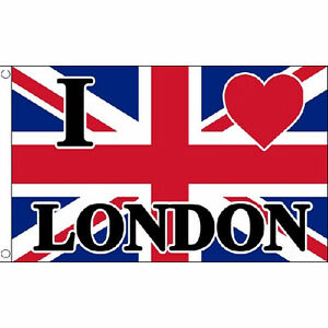 a44a8ab68dc0 I Love London Flag 5Ft X 3Ft Uk City Union Jack Banner With 2 ...