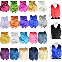 23 Color Pick Satin Vest Only Kid Teen Husky For Formal Party Tuxedo Suits 8-28