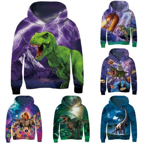 Dinosaur Galaxy 3D Print Kids Boys Girls Hoodie Sweatshirt Pullover Jumper Tops