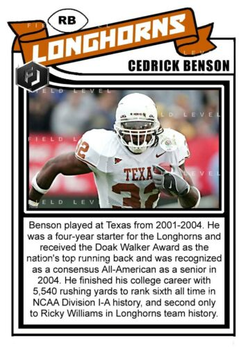 ACEO CEDRIC BENSON TEXAS LONGHORNS CUSTOM HAND MADE ART CARD
