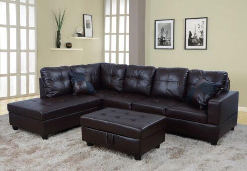 LifeStyle Furniture 3PC Sectional Sofa Set with Free Ottoman,2 Pillows