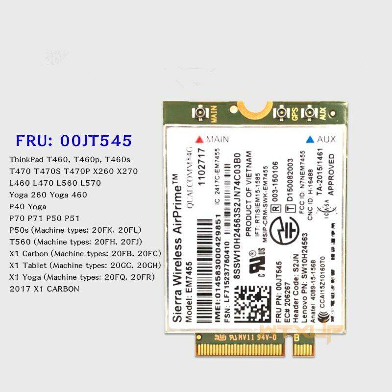4G LTE WWAN CARD Wireless Airprime EM7455 GOBI6000 For Lenovo 00jt545