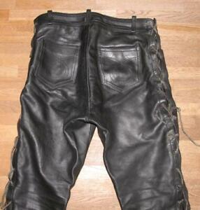 fette-034-MODEKA-034-SCHNUR-LEDERJEANS-Biker-Lederhose-in-schwarz-ca-W34-034-L26-034