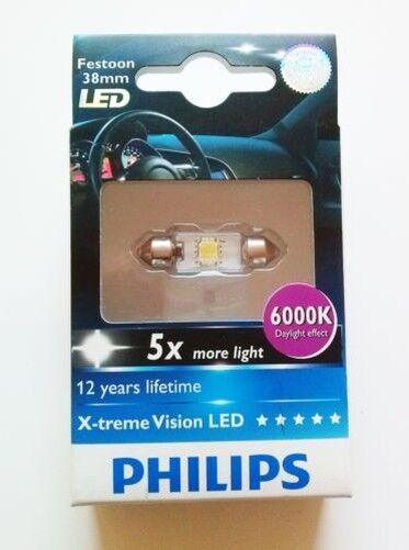 1X Philips X-Treme Vision Led 128596000KX1 Festoon 38mm 6000k
