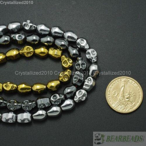 """Piedras Preciosas Naturales Hematites Tallado Cráneo Espaciador Granos metálico plata oro 15.5/"""""""