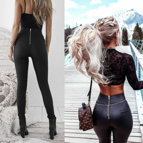 Women High Waist Stretch Leather Pants Skinny Leggings Push Up Zip Trousers Lady