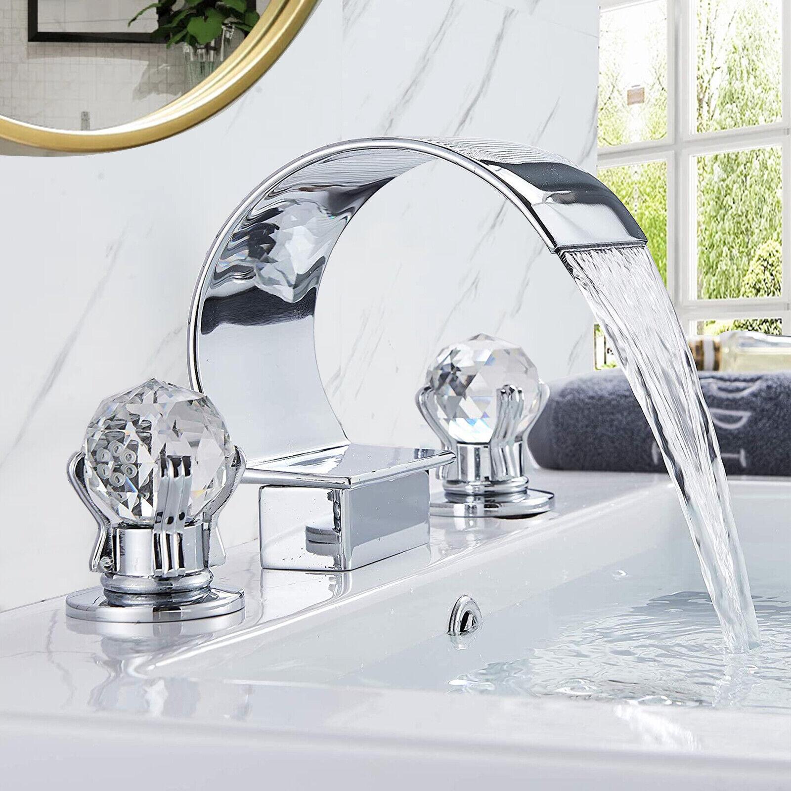 Modern Chrome Waterfall Bathroom Sink Faucet Brass Dual Crystal Handle Mixer Tap Ebay