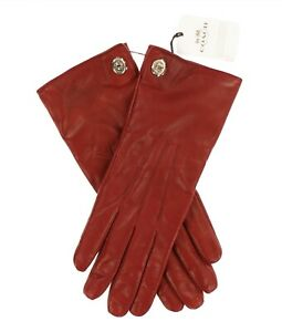 Coach-244459-Womens-Solid-Classic-Soft-Leather-Gloves-Black-Cherry-Size-8