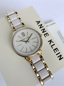 Anne Klein Watch * 1412IVGB Ivory and Gold Resin and Steel for Women