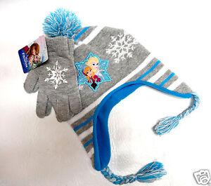 ee5a4973b46 Disney Girls FROZEN fleece lined knit hat   gloves set one size OSFM ...