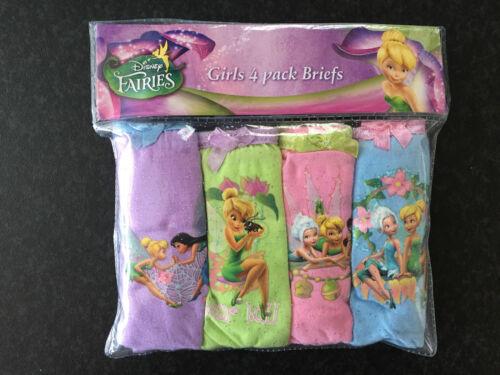 BNIP Girls Sz 6-8 Disney Fairies Pack of 4 Pure Cotton Briefs Pants Underwear