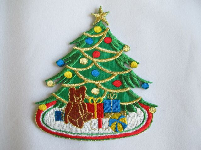 Iron on Woodie Station Wagon with Christmas Tree Applique Patch