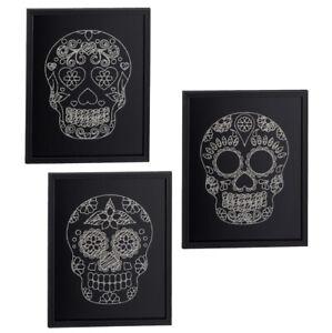 Bild-Flower-Skull-Totenkopf-schwarz-mit-Glitzer-silber-Wandbild-26-x-21-cm