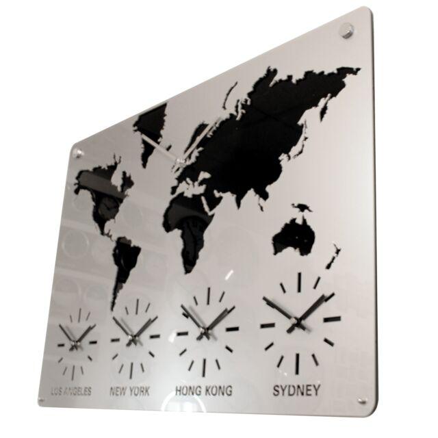 Roco Verre Acrylic Time Zone Map Clock