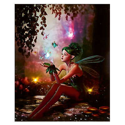 Fairy with Butterflies Magical 25cm x 20cm LED Light up Canvas Picture