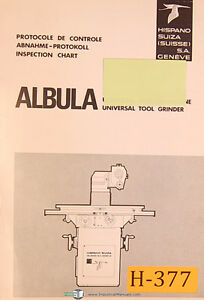 Albula Hispano Suiza Tool Grinder, Operations and Spare Parts List Manual 1968