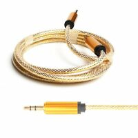 Gold 3.5mm Male to Male Car Aux Auxiliary Cord Stereo Audio Cable (Multiple Colors)